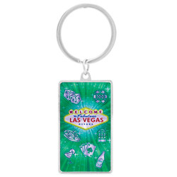 LAS VEGAS METALLIC RECTANGLE KEYCHAIN