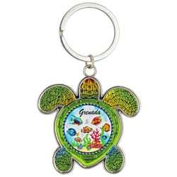 Turtle Foil Key Chain. Fish Scene