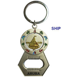 SHIP SPINNER BOTTLE OPENER KEYCHAIN