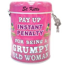 Grumpy Old Woman Tin Can Bank