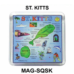 ST KITTS MAP SQUARE MAGNET