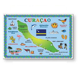 CURACAO MAP METAL MAGNET