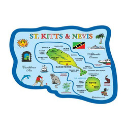 ST KITTS MAP 3D CARVED MAGNET