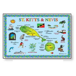 ST KITTS MAP METAL MAGNET