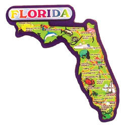 FLORIDA STATE MAP 3D CARVED MAGNET