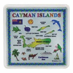 CAYMAN ISLANDS Map Acrylic Foil Magnets