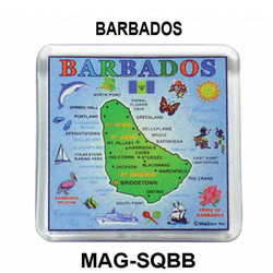 Barbados Map Square Acrylic Magnet